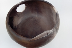 Panier, grès enfumé, hauteur 20cm, diamètre 40cm