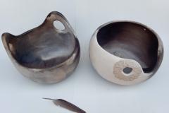 Paniers, grès enfumé, hauteur 16,5cm, diamètre 29cm