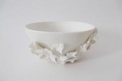 Bols à feuilles, porcelaine, diamètre 12cm.